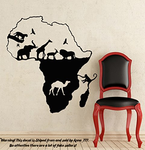 African Safari Wall Decal African Map Vinyl Stickers Animals Housewares Art Interior Nursery Bedroom Removable Home Decor NS980 by Creative Decals
