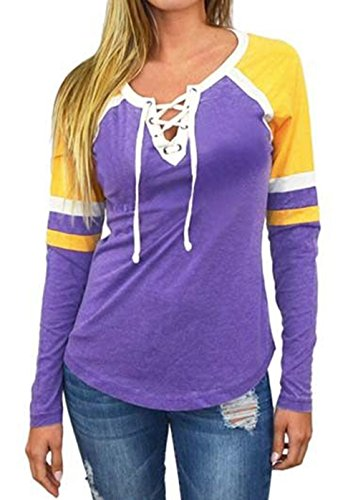 Crewneck Long Raglan Sleeve (Famulily Women's Lace Up Front Long Sleeve Tops Striped Crew Neck Raglan Baseball Tee Shirt(M,Purple))