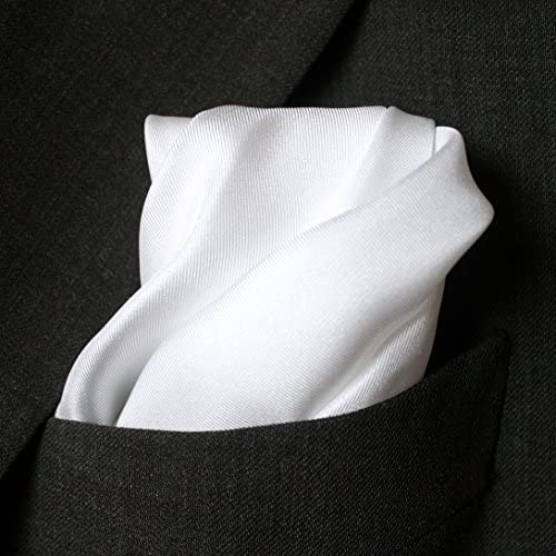 "Full-Sized 16/""x16/"" Elegant Snow White Silk Twill Pocket Square"