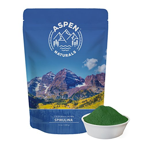 Price comparison product image Spirulina Powder California Grown - 12 OZ, Non GMO, Natural, Nutrient Dense Vegan Protein Supplement - Detoxifying Superfood - Sourced only from Algae grown in the USA. Aspen Naturals Brand
