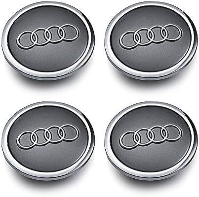 Audi Set de cuatro llantas aluminio centro – Juego de tapacubos gris/cromado Protectora insignia Buje Tapa Buje tapas 69 mm apta para Audi A3 A4 A5 A6 A7 A8 ...