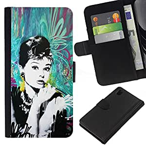 For Sony Xperia Z1 L39 Case , Vintage Retro Film Movie Cinema - la tarjeta de Crédito Slots PU Funda de cuero Monedero caso cubierta de piel