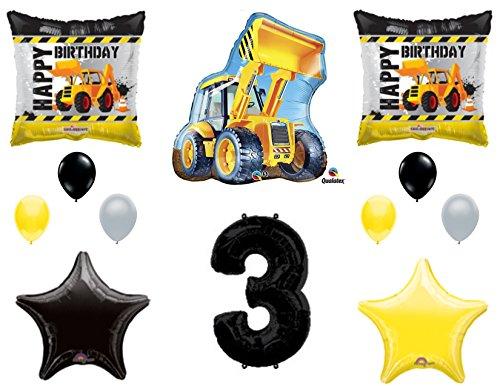 Dump Truck Birthday (3rd BIRTHDAY CONSTRUCTION Balloons Decoration Supplies Party Boy Dump Truck Bulldozer Third)
