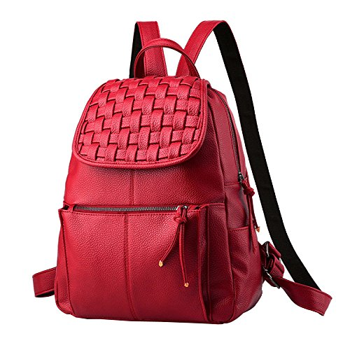 Leather Bag Red Shoulder Girls Backpack School Mini Fashion Purse Women amp; Casual Backpack For qWptwURnS
