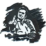 Johnny Cash Guitar Hero Fender Skirt Rockabilly Rocker Biker Iron on Patch Badge