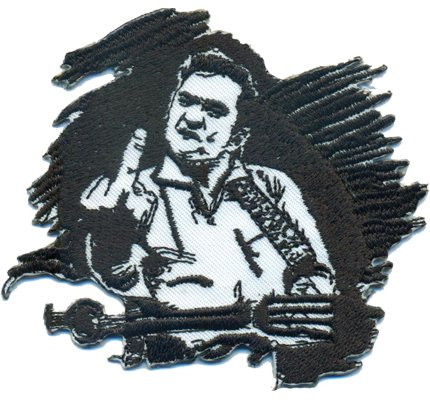 Johnny Cash Guitar Hero Fender Skirt Rockabilly Rocker Biker Iron on Patch Badge - Johnny Cash Patches
