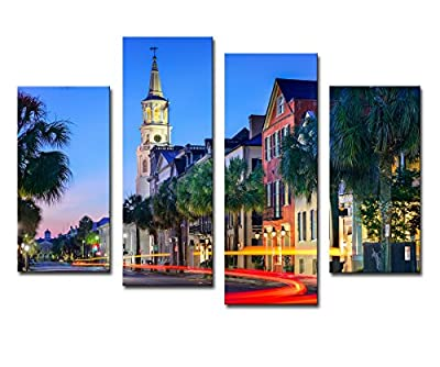 Noah Art-Modern Street Art, Charleston Night Urban Cityscape Artwork Lighting Architecture Landscape Picture Print on Canvas, 4 Panel Framed Street Wall Art for Bedroom Home Decor