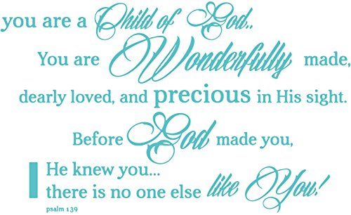 Gods Tile Will (Omega psalm 139 - you are a Child of God. You are… Vinyl Decal Sticker Quote - Small - Turquoise)