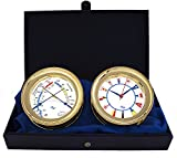 Windlass Gift Set Clock & Comfort Meter by Master-Mariner, Gold finish, Ivory flag dial