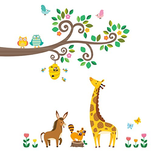 Decowall DW-1512N Scroll Branches and Animals Kids Wall Decals Wall Stickers Peel and Stick Removable Wall Stickers for Kids Nursery Bedroom Living Room