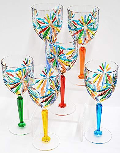 Authentic Italian Wine Glasses, Star, Murano Glass Set of 6 - Italy Murano Glass