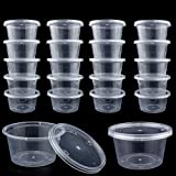 DOMIRE 40 Pack Slime Containers, Leakproof Clear Plastic Foam Ball Storage Containers with Lids for 4 oz Slime