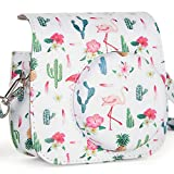CAIUL Compatible Mini 9 Groovy Camera Case Bag for Fujifilm Instax Mini 8 8+ 9 Camera - Flamingo & Cactus