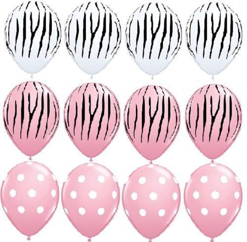 LoonBalloon ZEBRA Stripes Print Pink Polka Dots Baby Shower (12) Latex Party Balloons Set