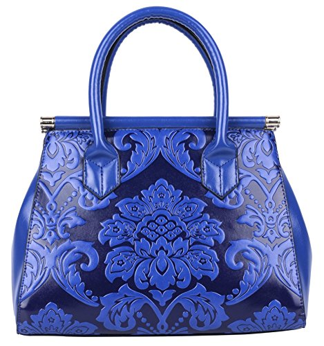 QZUnique Women's Fashion Chinese Style Elegant Empaistic Top Handle Cross Body Shoulder Bag Blue