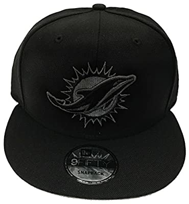 100% Authentic, Limited Ed., Miami Dolphins All Black hat, Grphite Logo, 9Fifty 950 SnapBack Hat Cap