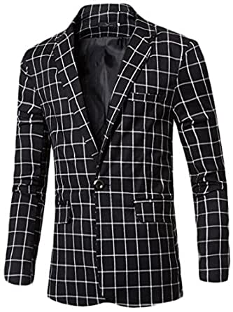 XQS Men's Plaid Center-Vent One Button Blazer Sport Coat Jackets Black X-Small