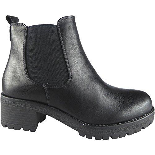 Damen Klobig Hacke Plattform Knöchel Stiefel Größe 36-41 Schwarz Pu