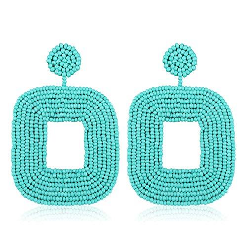 Big Beaded Hoop - Statement Beaded Hoop Earrings, Drop Dangle Square Earrings Bohemian for Women Girl Novelty Fashion Summer Accessories - VE133 Mint Green