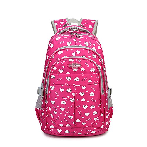 Sweetheart Printed Backpack for Girls Children Kids Schoolbag (Rose Red)