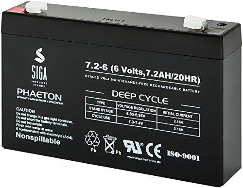 SIGA Batterien AGM Phaeton Deep Cycle (72000mAh, 6V) schwarz
