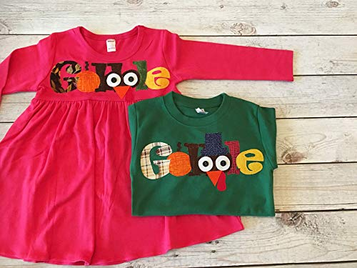 Matching Thanksgiving Outfits for Children, Gobble Shirt and Gobble Dress for Brother and Sister, Thanksgiving Clothing Children by Sweet Sophia Designs