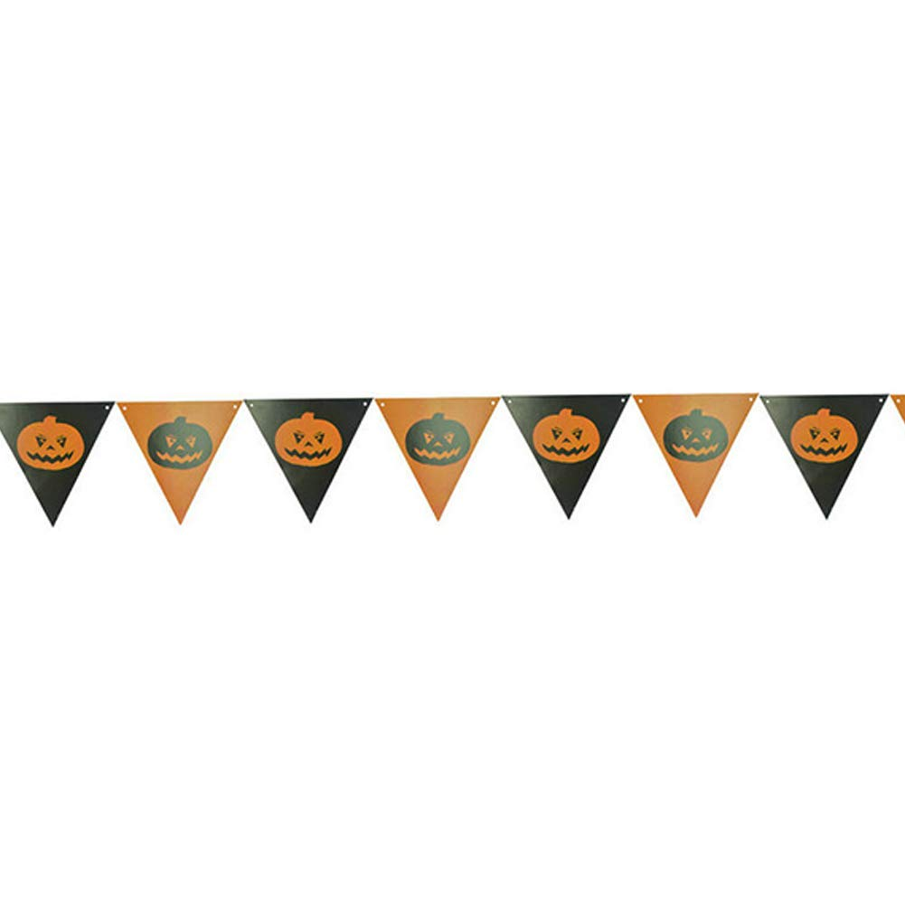 Rrunzfon 8.2 Feet(2.5 Meters) Halloween Banner Triangle Flag Bunting Vintage Fabric Pennant for Home, School, Office, Party Decoration-Big Pumpkin
