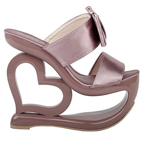 Mostrar historia Corazón verde retro la cuña del talón sandalias boda de Slip-ons, LF40205 Rosa