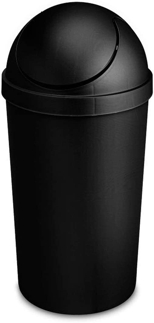 Round Swing Top Waste Basket Dust Container Recycling Bin Trash Can for Home Powder Room Kitchen Office Garbage Bathroom Garage Indoor Outdoor Janitor Cleaning 3 Gallon Capacity 11.4L-Black (3)