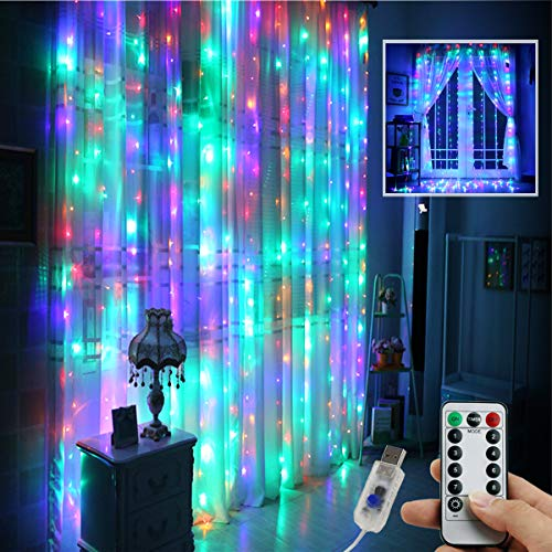 Juhefa Window Curtain Lights 300 LED,USB Powered Fairy String Lights with Remote, IP64 Waterproof & 8 Settings Twinkle Lights for Bedroom Parties,Weddings,Wall Decorations (9.8x9.8Ft Multi-Color)