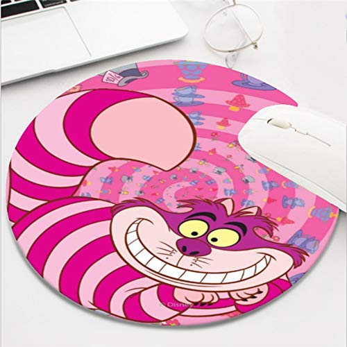 (Computer Gaming Mouse Pad Waterproof Non-Slip Rubber Material Round Mouse Mat for Office and Home(8 Inch)-Alice in Wonderland Cheshire Pink cat Smiling )