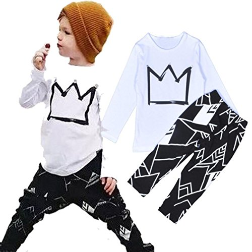Outfit, Yasalu 1Set Toddler Boy Long Sleeve Print T-shirt Tops+Pants Clothes