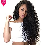 (US) Lace Front Wig Pre Plucked With Baby Hair Peruvian Deep 130% Density Remy Lace Front Human Hair Wigs For Black Women Miss GAGA (deep lace wig 16inch)
