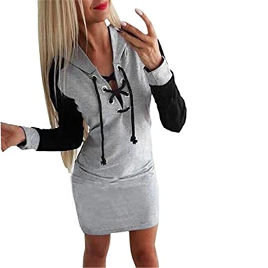 Damen Sweatkleid Longshirt Minikleid Sweatshirt Langarm S M L XL Nachthemd Somme