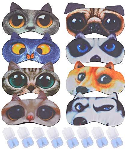 Dog and Cat Sleeping Masks | 8 Pack Soft Plush Blindfold Cute Dog and Cat Sleep Mask | 8 Pair Ear Plugs | Eye Mask Cover for Girls Women Kids | Eyeshade for Teens Girls Women Plane Travel Nap Night
