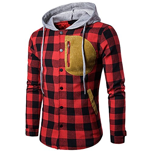 Teresamoon Men's Autumn Winter Long Sleeved Plaid Hooded Shirt Top Pullover Blouse ()