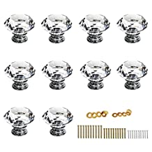 BTSKY® 30mm Clear Glass Crystal Cabinet Knob Cupboard Drawer Pull Handle, Come with 3 kinds of Screws (10 Pcs)