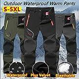 Thin/Thick 2 Styles New Men's Outdoor Waterproof Hiking Trousers Camping Climbing Fishing Skiing Trekking Softshell Fleece Warm Pants Plus Size S-5XL(Black,XL/Thin)