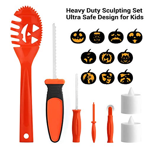 Brizled Pumpkin Carving Kits, 5 Tools Kit, 10 Halloween Style Carving Templates & 2 LED Candles for Halloween Pumpkin Lights, Easily DIY Halloween Pumpkin Jack-O-Lantern Decoration for Family Activity ()