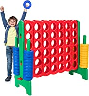 Costzon Giant 4-in-A-Row, Jumbo 4-to-Score Giant Games for Kids & Adults, Indoor Outdoor Party Family Conn
