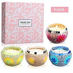 Yinuo Mirror Scented Candles Gift Set, Handmade Mosaic Design Natural Soy Wax 4.4 Oz Portable Travel Candles for Stress…