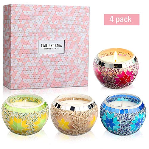 - Yinuo Mirror Scented Candles Gift Set, Handmade Mosaic Design Natural Soy Wax 4.4 Oz Portable Travel Candles for Stress Relief and Aromatherapy Women Gift Home Decoration- 4 Pack