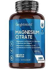 Magnesium Citraat - 180 Capsules voor 3 maanden - 740 mg Magnesium Citraat waarvan 220 mg Elementair Magnesium per capsule - Ondersteunt de werking van de spieren - Vegan