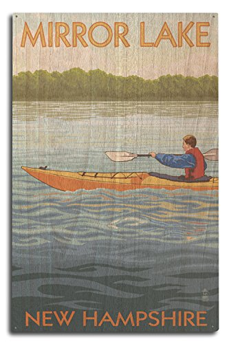 Lantern Press Mirror Lake, New Hampshire - Kayak Scene (10x15 Wood Wall Sign, Wall Decor Ready to Hang)