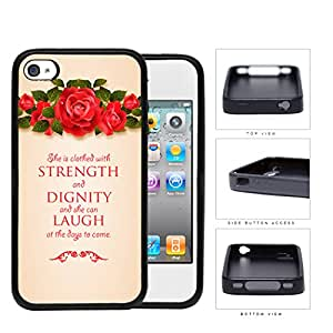 Proverbs 31:25 Bible Verse Red Roses on Top with Vintage Grunge Background iPhone 4 4s Rubber Silicone TPU Cell Phone Case