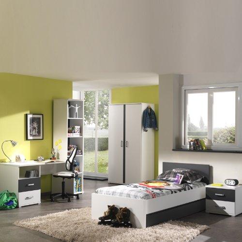 Kinderzimmer Jugendzimmer Kindermöbel Bett Weiß Anthrazit