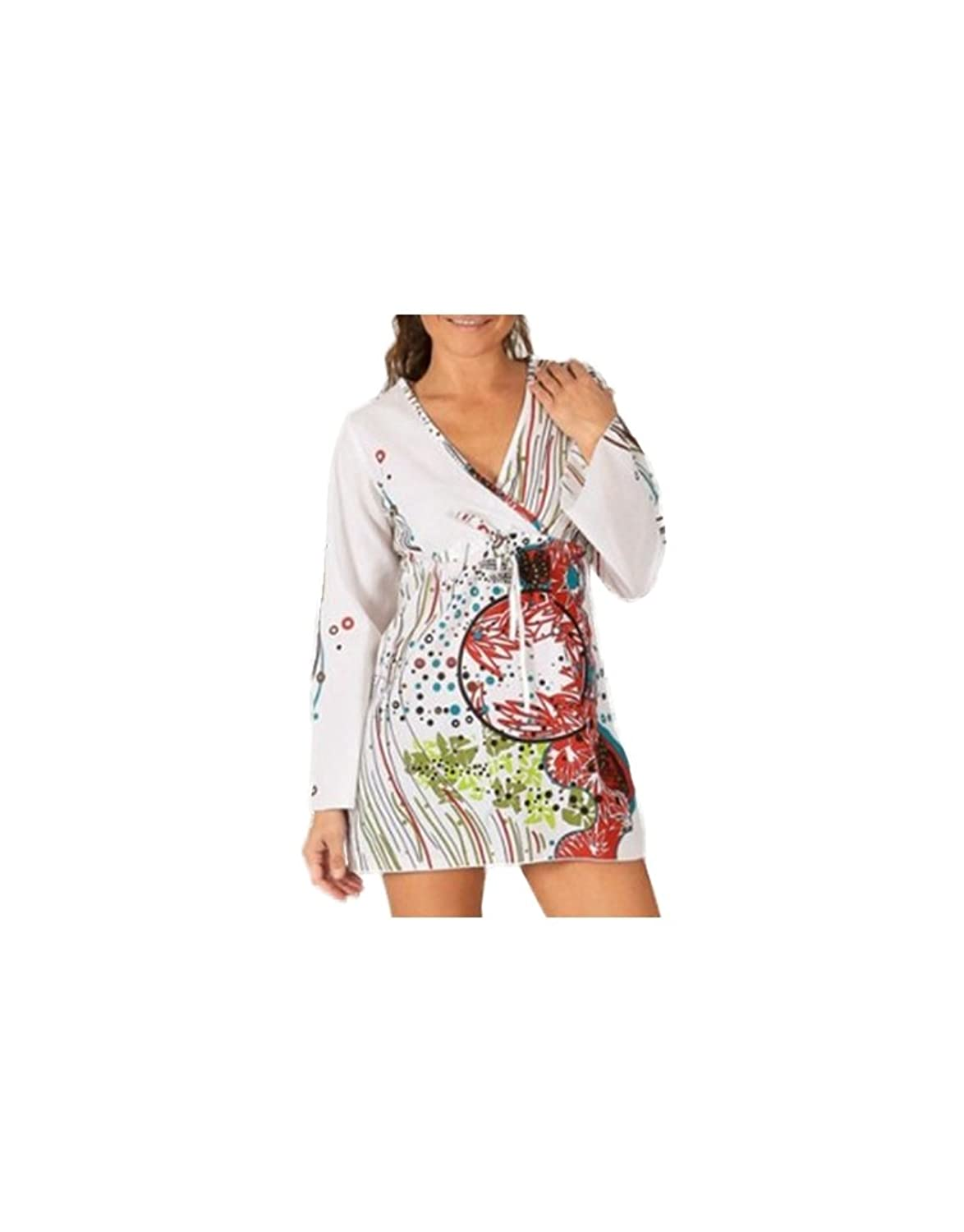 Modeincoton - Tunic in cotton long-sleeved V-neck with attached links Modeincoton TUL091