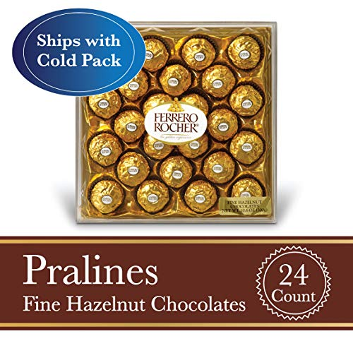 Ferrero Rocher Fine Hazelnut Milk Chocolate, 24 Count, Chocolate Candy Gift Box, 10.5 oz]()