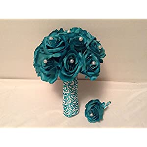 TEAL WEDDING BOUQUET AND BOUTONNIERE 6