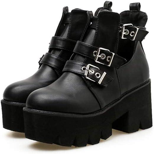 Stivali da Donna Autunno E Inverno Stivali da Donna con Fibbia Cintura Spessa Martin Stivali Pan di Spagna Fondo Stivali Alti Marea Black